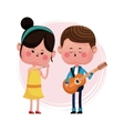 couple loving serenading with guitar vector image