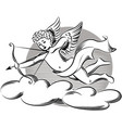 cupid ready to shoot love arrows vector image vector image