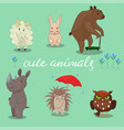 cute animals hand drawn style vector image vector image