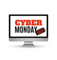 cyber monday sale design on computer monitor vector image