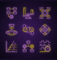 diagram concepts neon light icons set statistics vector image vector image