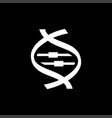 dna icon on black background black flat style vector image