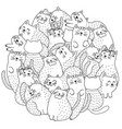 doodle cute cats coloring page vector image