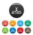 drone tech icons set color vector image