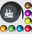 factory icon sign Symbols on eight colored buttons vector image