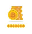 flat golden bitcoins stack of golden coin vector image vector image