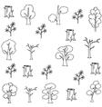 Flat hand draw tree set doodles vector image