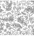 fun koalas in the eucalyptus seamless pattern ink vector image