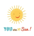 funny happy sun character background vector image vector image