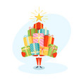 funny santa claus character with gift boxes vector image