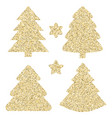 gold glitter icon of christmas tree isolated on vector image