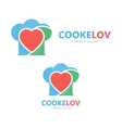 logo combination of a heart and chef hat vector image