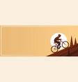mountain biking action sport banner vector image