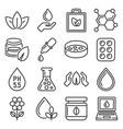 organic eco cosmetics icons set line style