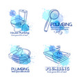 plumbing service banners vector image