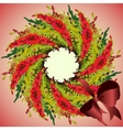 Red poppies garland wreath and ribbon with bow vector image