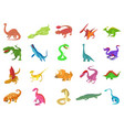 reptile icon set cartoon style vector image