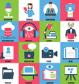 Set flat icons of business learning vector image