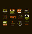 set label and logo design for camping lifestyle vector image vector image