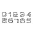 set numerals made in circuit texture computer vector image