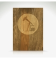 Shiny icon with brown design on wooden background vector image vector image