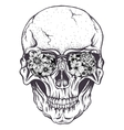 skull human with flowers on eyeglasses vector image vector image