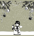 snowman on snow with a gift bag in hand vector image vector image