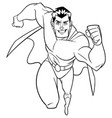 superhero running frontal view line art vector image