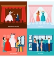 Theater 4 flat icons square banner vector image vector image
