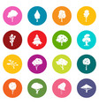 trees icons many colors set vector image vector image