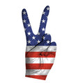 victoria finger gesture with american flag vector image