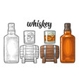 whiskey glass with ice cubes barrel bottle vector image vector image