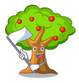 with flag apple tree in agriculture the cartoon vector image