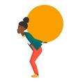 Woman carrying big ball vector image vector image