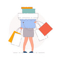 woman shopping bags isolated woman vector image
