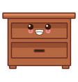 wooden drawer funiture cute kawaii cartoon vector image