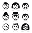 Crying people faces - man woman baby icons set vector image