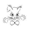 Cute outline cat head with paws and bow-knot vector image