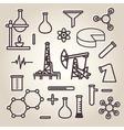 Black line minimalistic science icons set vector image