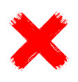 x red cross brush paint stroke hand drawn blood vector image