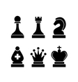 Set of black simple chess icons on white vector image