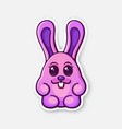 0651 sticker easter rabbit egg pink converted vector image