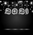 2021 text design with neon retro light bulbs vector image