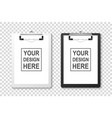 3d realistic white and black clipboard with vector image vector image