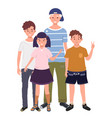 a group children are standing together i vector image