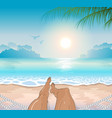 a person restsing on sea tropical beach vector image vector image