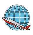 airplane flying with sphere planet vector image vector image