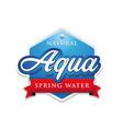 aqua - spring water label tag vector image