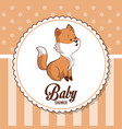 baby shower card invitation greeting cute fox vector image vector image