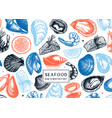 background with hand drawn shellfish - clam vector image vector image